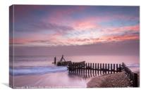 Sunrise at Caister Beach, Canvas Print
