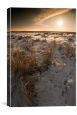 Snowy sunrise over Gt Yarmouth Beach, Canvas Print
