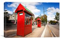 Red Telephone Boxes in Christchurch, New Zealand, Canvas Print
