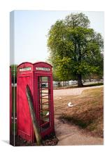Red Telephone Box in spring, Canvas Print