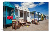 Deck chairs and beach huts, Canvas Print