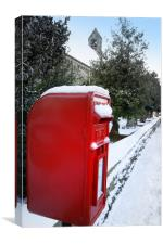 A snowy pillar box, Canvas Print
