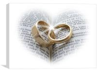 Wedding rings on an open Bible, Canvas Print