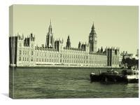 Big Ben on the River Thames, Canvas Print