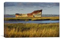 Rotting Hulk on the Medway, Canvas Print