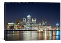 Canary Wharf at Night, Canvas Print