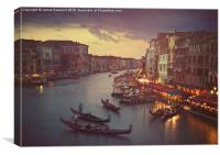 View from Rialto Bridge, Venice, Canvas Print