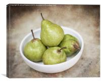 Green Pears in a Bowl, Canvas Print