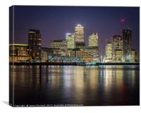 Canary Wharf by Night, Canvas Print
