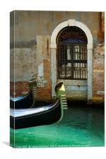 Gondola and arched doorway, Canvas Print