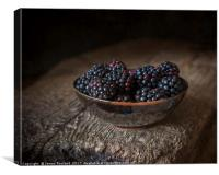 Blackberries in a Bowl, Canvas Print