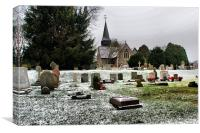 snowy grave yard, Canvas Print
