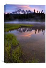 Rainier Sunrise Cap, Canvas Print