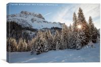 Winter landscape near Lech resort, Austria, Canvas Print