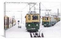Trains in heavy snow at Kleine Scheidegg station, Canvas Print