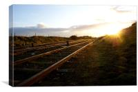 Railway at Sunset, Canvas Print