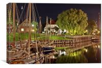 old harbor of carolinensiel at night, Canvas Print
