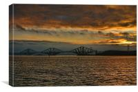 Sunset Over The Forth Bridges, Canvas Print