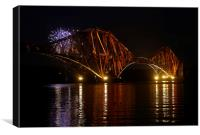 Fireworks at Rail Bridge, Canvas Print