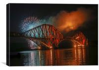 Fireworks at Forth Rail Bridge, Canvas Print