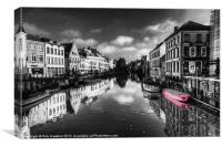 Reflections over Ghent with pink, Canvas Print