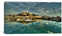 Torquay Harbour Reflections , Canvas Print