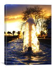 Fountain at sundown, Canvas Print
