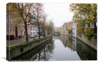 Brugge in the mist , Canvas Print