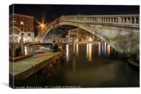 Venitian Bridge Nitelife , Canvas Print