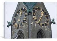 Zurich Clock , Canvas Print