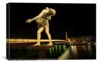 Lyon Bridge Statue by night , Canvas Print