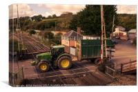 Crediton Tractor crossing , Canvas Print