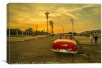 Habana convertible sunset , Canvas Print