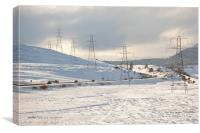 Winter Pylons in Scottish Highlands, Canvas Print