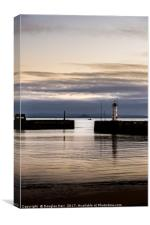 Anstruther Harbour lighthouse at sunset , Canvas Print