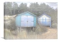 Pastel Beach-huts, Canvas Print