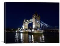 Tower Bridge at night on the River Thames, England