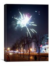 City fireworks, Canvas Print
