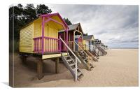 Colourful Beach Huts in Wells, Canvas Print