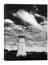 Thurne Mill Windmill at Sunset Black & White, Canvas Print