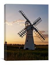 Thurne Mill Windmill at Sunset, Canvas Print
