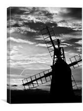 Turf Fen Windmill at Sunset Black & White, Canvas Print
