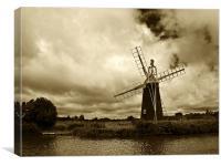 Turf Fen Windmill Sepia, Canvas Print