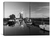 Norfolk Broads Horsey Windpump B&W, Canvas Print