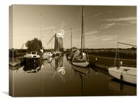 Norfolk Broads Horsey Windpump Sepia, Canvas Print