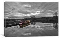 Canal Boat Colour Splash HDR, Canvas Print