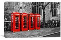 Classic Phone Boxes in Cambridge, Canvas Print