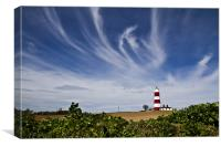 Wispy Clouds Above Happisburgh Lighthouse, Canvas Print