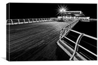 Cromer Pier by Night Mono A different Angle, Canvas Print