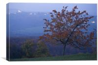 Autumn colour at dusk, Canvas Print